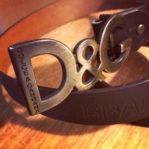Dolce & Gabbana brown leather brass logo belt